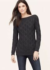 NWT Ann Taylor Loft Ballet Boatneck Sweater in Black Size S