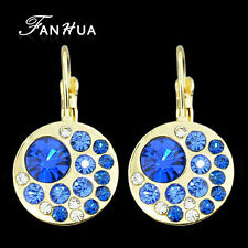 Simple Charming Round Drop Golden Tone with BLUE Crystals Drop Earrings Jewelry