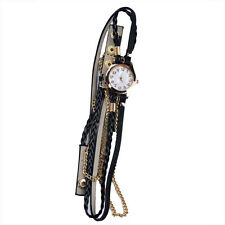 Fashion Women Bracelet Watch Leather Strap Braided Winding Rivet Wrist Watches