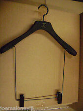 CHANEL DESIGNER BLACK VINYL COVERED  WOOD COORDINATES DISPLAY HANGERS SET 5