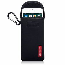 For Apple iPhone 7 Plus Shocksock Neoprene Pouch Sleeve Case With Clip - Black