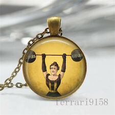 Hot Vintage weightlifting Cabochon Photo Glass Chain Pendant Necklace