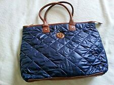 Tory Burch navy quilted tote bag