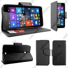 Housse Etui Coque Portefeuille Simili Cuir Noir Microsoft Lumia 535 +Film