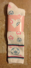 Urban Outfitters GIRLS  SOCCER socks 7-8  NEW pink & blue & white HEARTS BALLS