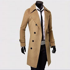 Winter Mens Slim Stylish Trench Coat Thick Double Breasted Long Jacket Lot#L3~