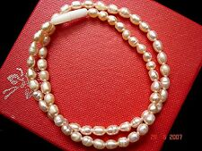 """16"""" PEACH FRESHWATER PEARL NECKLACE NEW YEAR CHINESE BIRTHDAY WOMEN PARTY R2"""
