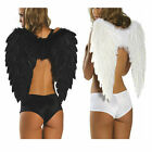 BLACK WHITE RED ANGEL FAIRY FEATHER WINGS HALLOWEEN FANCY DRESS ACCESSORY