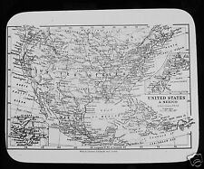 Glass Magic Lantern Slide MAP OF UNITED STATES AND MEXICO C1910 USA
