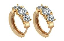 Caratcube 18K Gold Plated Silver Crystal Bali Style Hoop Earrings (CTC - 89)