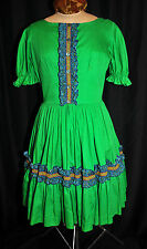 VTG 50s 60s Calico House Square Dance Dress Size Large Kelly Green Metal Zipper