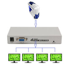 4 Ports VGA SVGA HD Splitter with Adapter PC Laptop to TV LCD Monitor Display