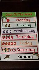 HUNGRY CATERPILLAR - DAYS OF THE WEEK - A4 LAMINATED POSTER - EYFS - CHILDMINDER