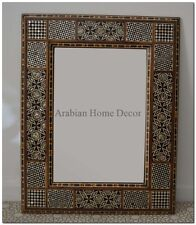 Large Handcrafted Rectangular Moroccan Mother of Pearl Wood Wall Mirror Frame