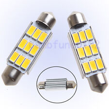 "2 x Warm White 41mm - 44mm 1.72"" 5730SMD 211-2 Bulbs Festoon Dome Map Led Light"