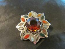 Fab Victorian Scottish Solid Silver, Agate & Gemstone Brooch,1880, For Repair