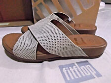 NEW  FIT FLOPS AIX SLIDE & DUST BAG  WOMENS LEATHER  SANDALS SIZE 8 URBAN WHITE