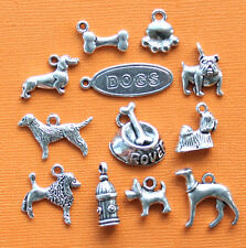 Dog Charm Collection 12 Tibetan Silver Tone Charms FREE Shipping E27
