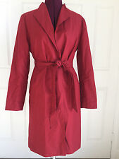 Banana Republic Red Cotton Belted Waist Simple Lined Trench Sz M