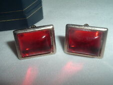 VINTAGE ART DECO RUBY RED GLASS CUFFLINKS IN GIFT BOX