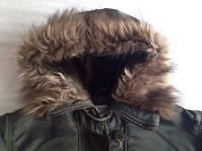 Khaki Bomber Jacket With Fur Trimmed Hood. Size 10