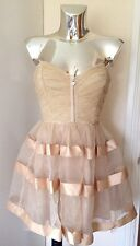 Lipsy Pixie Lott Nude Strapless Prom Wedding Dress Organza Ribbon Detail UK 12
