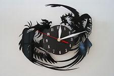Rooster Design Vinile Record Orologio da parete [ Black Matt Adesivo ] CASA UFFICIO ARTE