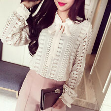 New Fashion Women Ladies Crochet Lace Chiffon Bow Tie Collar Blouses Shirt Tops