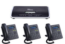 Complete New VoIP Small Business PBX w 3 SIP Phone sets SMB Telephone System