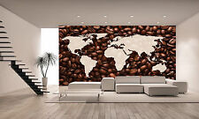 World Map with Coffee Beans Wall Mural Photo Wallpaper GIANT WALL DECOR