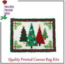 Christmas Tree Printed Canvas Latch Hook Rug Kit  - Everything included