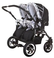 DOUBLE, TWIN PRAM WITH RAIN COVERS,CHANGING BAG,FOOT MUFFS,MOSQUITO NET - Wh/Bl