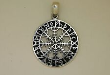 Anhänger Wikinger mit Runen 925er Silber + Lederband  Amulett Futhark Sterling