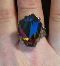 Vintage Rainbow Crystal & Silver Tone Ring Faceted Stone Sz 7 Adjustable Pretty!