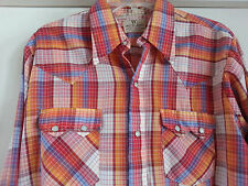 Dee Cee Red Plaid Western Shirt  Size 16 35 Pearl Snaps Rockabilly USA