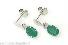 9ct White Gold Emerald Oval Drop Earrings Gift Boxed Made in UK