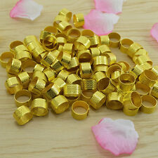 10x Gold Adjustable Size Ring Stitch Finger Thimble Sewing DIY Craft Tools ESC