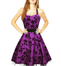 119 NEW PURPLE FLORAL HALTERNECK PARTY EVENING WEDDING PROM DRESS SIZE 18 BN
