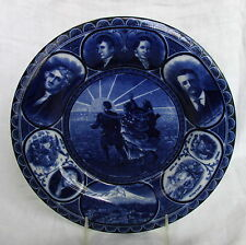Antique English Staffordshire Plate Dk Blue American Historial Lewis&Clark 1905