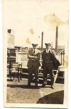 Tam Cap Men (1 ID'd Messick) On Top Deck BUFFALO Steam Boat Vintage 1920s Photo