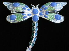 NAPIER SILVER GREEN PURPLE RHINESTONE BUG INSECT DRAGONFLY PIN BROOCH JEWELRY