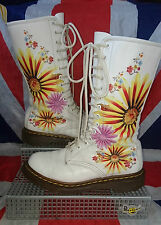 Mint*Floral Burst White Dr Doc Martens*Hippy Flowers*Quirky*14 Eyelets*Bright*5