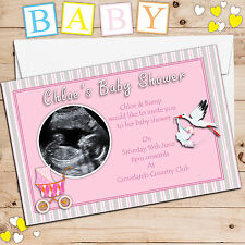 10 Personalised Pink Girl Baby Shower SCAN PHOTO Picture Invitations N1