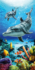 """Dolphins Life & Fish Beach Towel - 30"""" x 60"""" - Velour - Made In Brazil"""