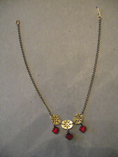 "14"" Yellow Gold Necklace with 3 Red Stones.  Pretty."