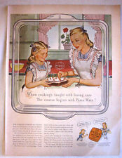 1947 PYREX OVEN WARE - COOKING LESSONS - CORNING GLASS WORKS PRINT AD!