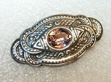 Sterling Silver Victioran Style plate Pink Facet Oval Rhinestone Brooch pin
