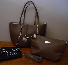 BCBG PARIS BROWN/WHITE REVERSIBLE TOTE WITH MATCHING CONVERTIBLE BAG DUST BAG