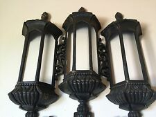 VINTAGE HOMCO/HOME INTERIOR BLACK PLASTIC STREET LIGHT WALL HANGING