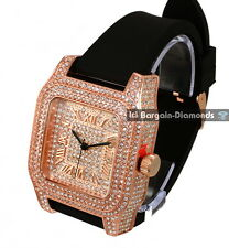 manly big rose gold tone square CZ ice out case dial watch black strap clubbing